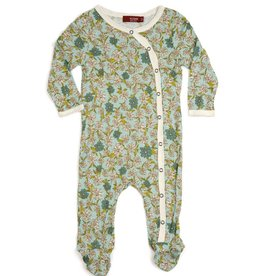 CLOTHES-Baby Girl Blue Floral Footed Romper