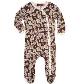 CLOTHES-Baby Girl Purple Floral Footed Romper