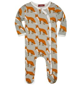 Orange Fox Footed Romper