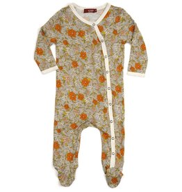 CLOTHES-Baby Girl Grey Floral Footed Romper