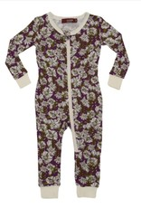 CLOTHES-Baby Girl Purple Floral  Zipper Pajamas