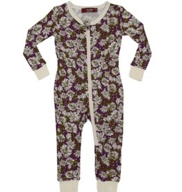 Purple Floral  Zipper Pajamas