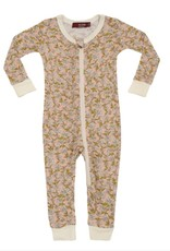 CLOTHES-Baby Girl Rose Floral  Zipper Pajamas