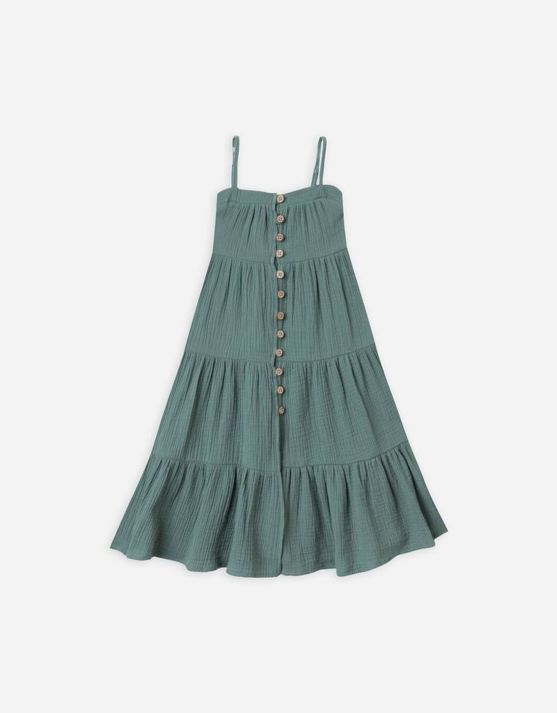Tiered Maxi Dress Button Front