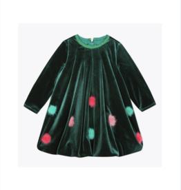 Callalily Velvet Bubble Dress with Pompoms