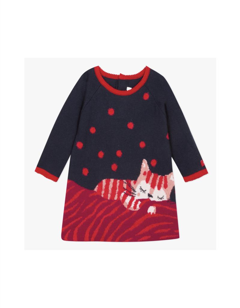 Calypso Cat Pattern Jacquard Dress