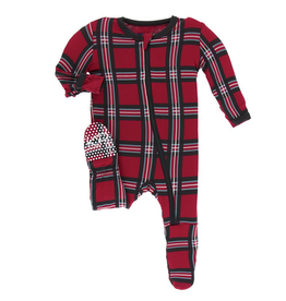Footie with Zipper Christmas Plaid