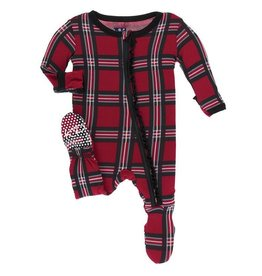 Muffin Ruffle Footie with Zipper Christmas Plaid