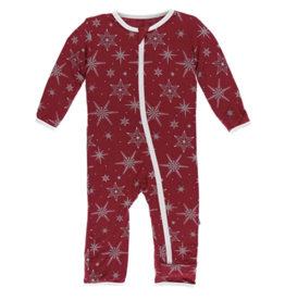 Coverall with Zipper Crimson Snowflakes