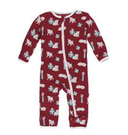 Coverall with Zipper Crimson Puppies and Presents