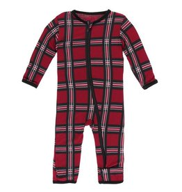 Coverall with Zipper Christmas Plaid