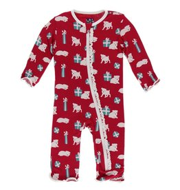 Muffin Ruffle Coverall with Zipper Crimson Puppies and Presents