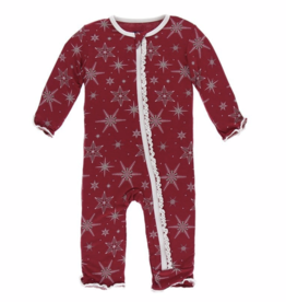 Muffin Ruffle Coverall with Zipper Crimson Snowflakes
