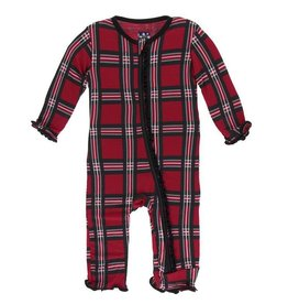 Muffin Ruffle Coverall with Zipper Christmas Plaid