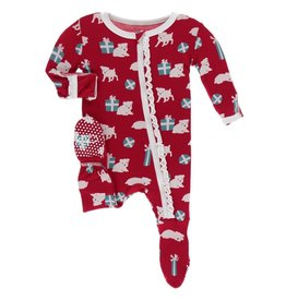 Muffin Ruffle Footie with Zipper Crimson Puppies and Presents