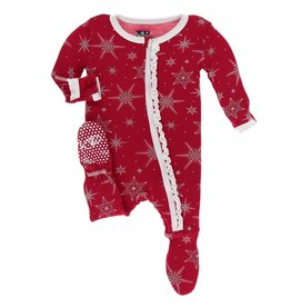 Muffin Ruffle Footie with Zipper Crimson Snowflakes