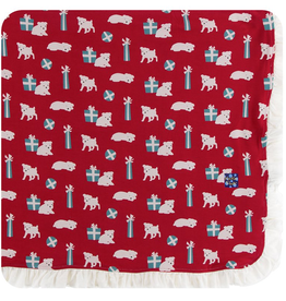 Ruffle Toddler Blanket Crimson Puppies and Presents