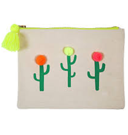 Pom Pom Cactus Large Canvas Pouch