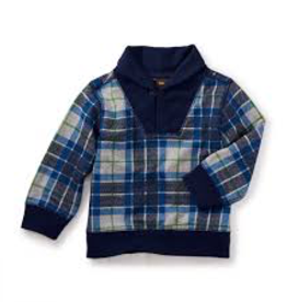 VAULT CLOTHES-Baby Boy Tea Collection Tartan Baby Popover 7W42102 MED HEATHER GREY