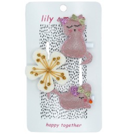 Kitty and Mouse Hairclips