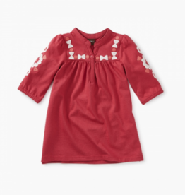 VAULT CLOTHES-Baby Girl Embroidered Henley Baby Dress
