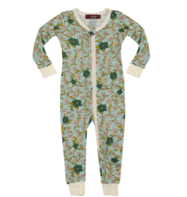 Blue Floral  Zipper Pajamas