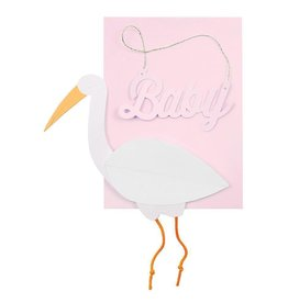 Pink Baby Stork Honeycomb Card