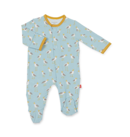 VAULT CLOTHES-Baby Boy Blue Plovers Modal Footie Magnetic Closure