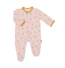 VAULT CLOTHES-Baby Girl Pink Plovers Modal Footie Magnetic Closure