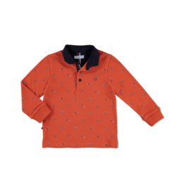 VAULT CLOTHES-Boy Mikhail Long-Sleeve Printed Polo