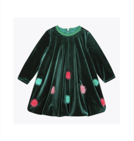 VAULT CLOTHES-Baby Girl Callalily Velvet Bubble Dress with Pompoms