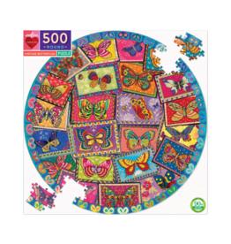 Vintage Butterflies 500 Piece Round Puzzle