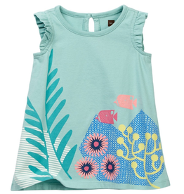 VAULT CLOTHES-Girl Tea Collection Ningaloo Graphic Baby Dress 7M32305 AQUASTONE