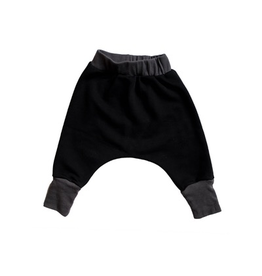VAULT CLOTHES-Baby Boy Black Joggers with Charcoal Cuffs
