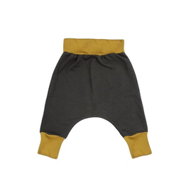 VAULT CLOTHES-Baby Boy Charcoal Joggers with Mustard Cuffs