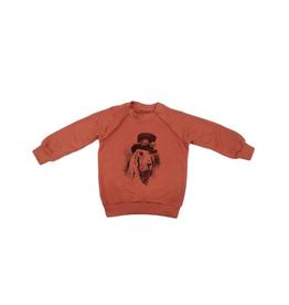 VAULT CLOTHES-Baby Boy Brick Sweatshirt with Hound Dog Print