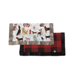 Dogs & Buffalo Plaid Cotton Muslin Security Blankets, 2 Pack