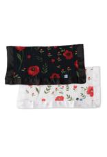 Summer Poppy + Dark Summer Poppy Cotton Muslin Security Blanket, 2 Pack