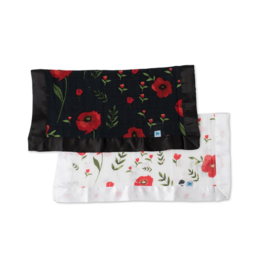 Summer Poppy + Dark Summer Poppy Cotton Muslin Security Blanket, 2 Pack
