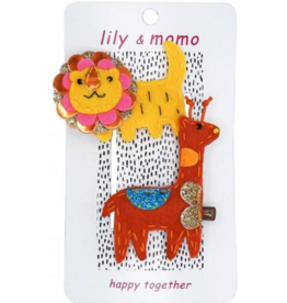 Little Lion and Giraffe Hairclips