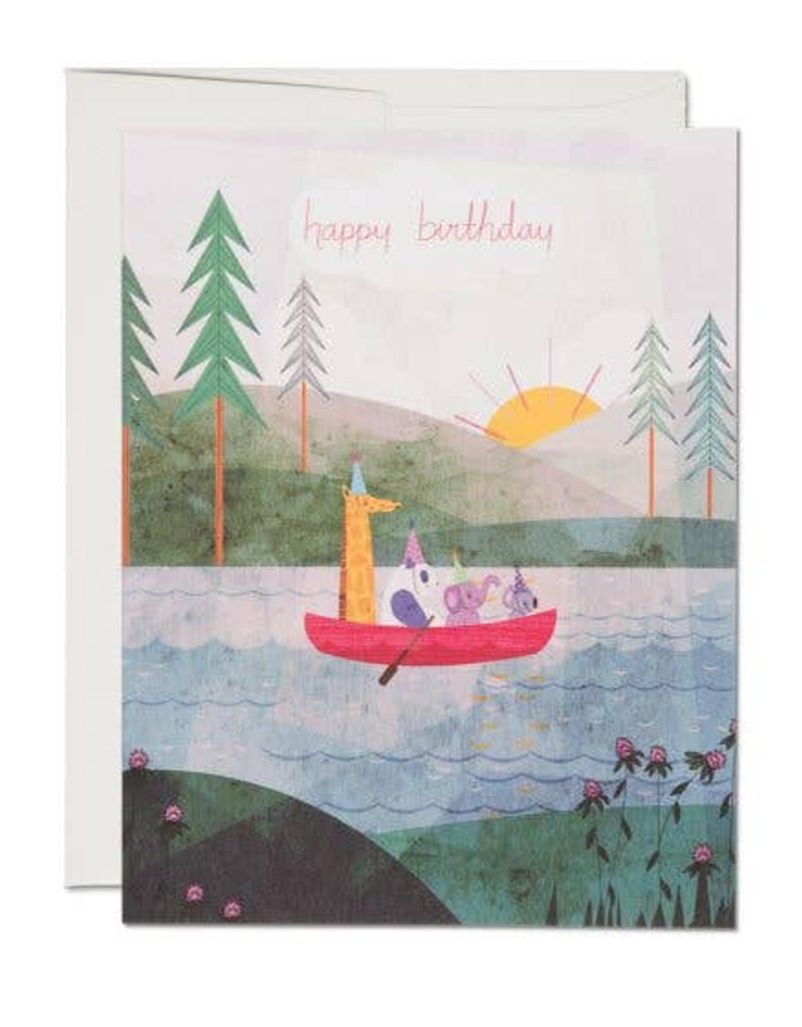 Four Canoe Birthday Card