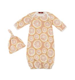 Grapefruit Newborn Gown & Hat Set