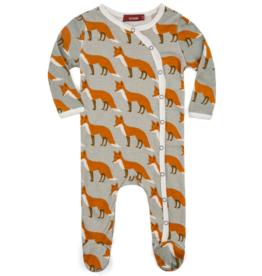 Orange Fox Footed Romper