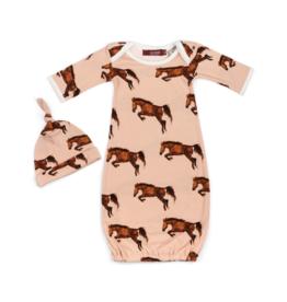 Horse Newborn Gown & Hat Set
