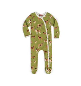 Green Dog Footed Romper