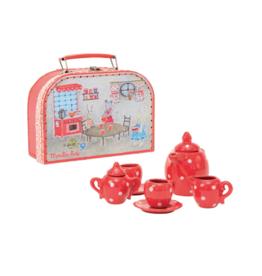 La Grande Famille Red Ceramic Tea Set