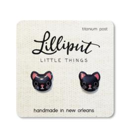 Cute Kitty Cat Earrings - Black