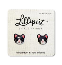 Cute Kitty Cat Earrings - Tuxedo