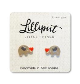 Cute Elephant with Heart Earrings