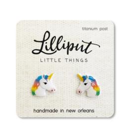 Rainbow Unicorn Earrings - White